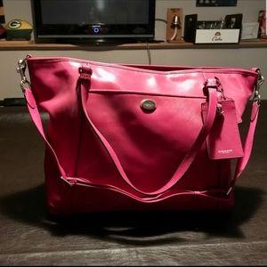 Coach large dark hot pink bag
